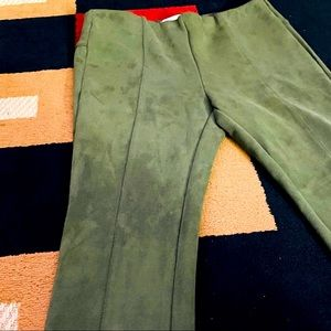 ANTHROPOLOGIE FAUX SUEDE GREEN PANTS